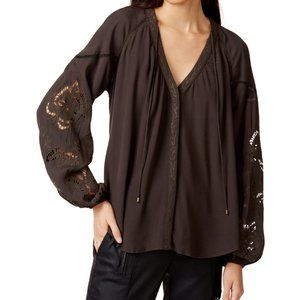 ASTR the Label/ Flirty Button Down Peasant Top/ XS